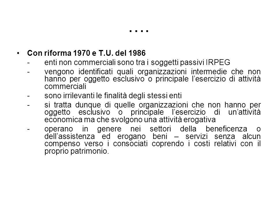 …. Con riforma 1970 e T.U. del 1986 - enti non commerciali sono tra i soggetti passivi IRPEG - vengono identificati quali organizzazioni intermedie ch