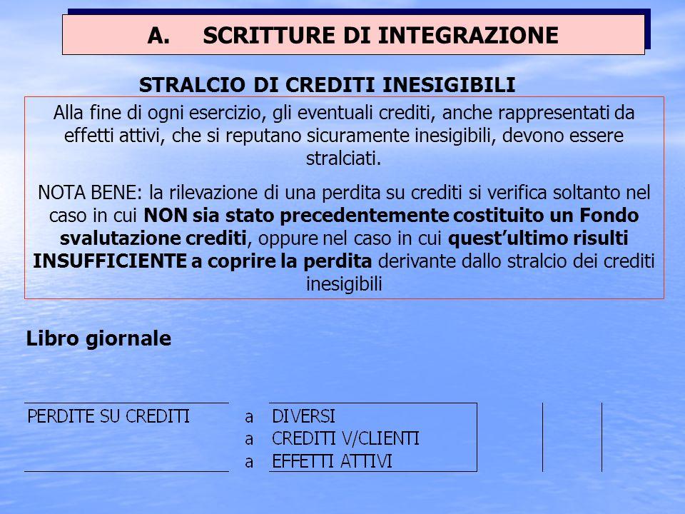 Esempio: La società, dopo aver proceduto ad una accurata valutazione dei crediti commerciali in essere al 31/12, ritiene congruo effettuare un accanto