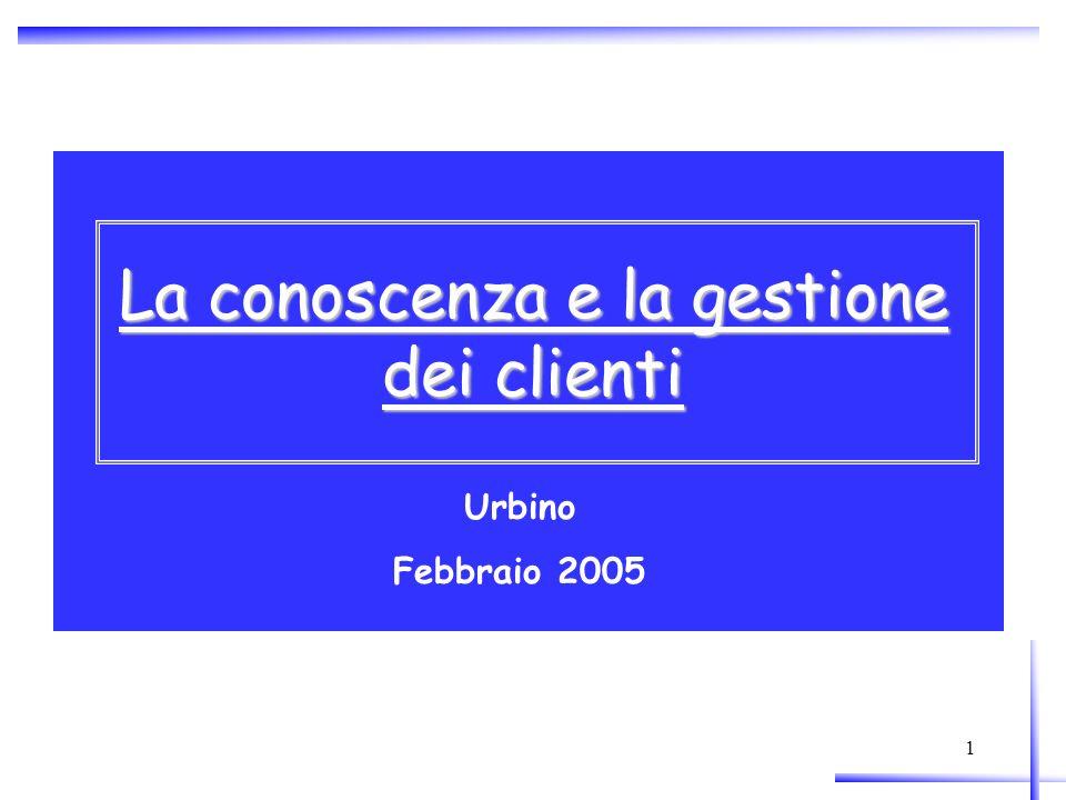 1 La conoscenza e la gestione dei clienti Urbino Febbraio 2005