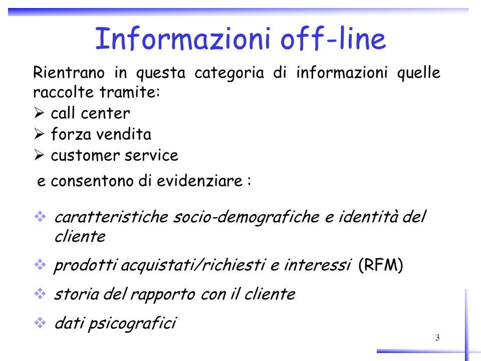 3 Informazioni off-line Rientrano in questa categoria di informazioni quelle raccolte tramite: call center forza vendita customer service e consentono