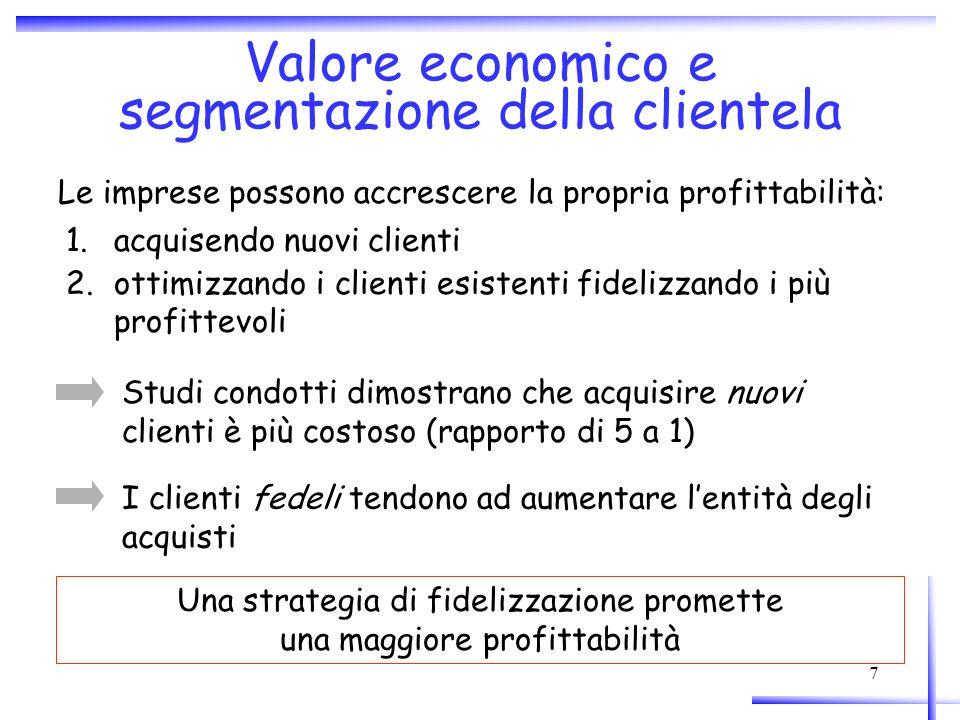 8 B Curva di interazione Allaumento di tale area corrisponde un aumento di redditività per limpresa > ridurre i costi di acquisizione: strategia di acquisizione (1) > avvicinare il punto di break even: aumentare la soddisfazione (-> valore percepito) dei clienti (2) > aumentare le vendite mediate cross-selling e up- selling: strategia di fidelizzazione (3) > allungare il ciclo di vita del cliente: customer retention (4) Laumento di redditività (area positiva) può essere ottenuto Descrive il ciclo di vita del cliente in relazione al tempo e al valore generato per limpresa