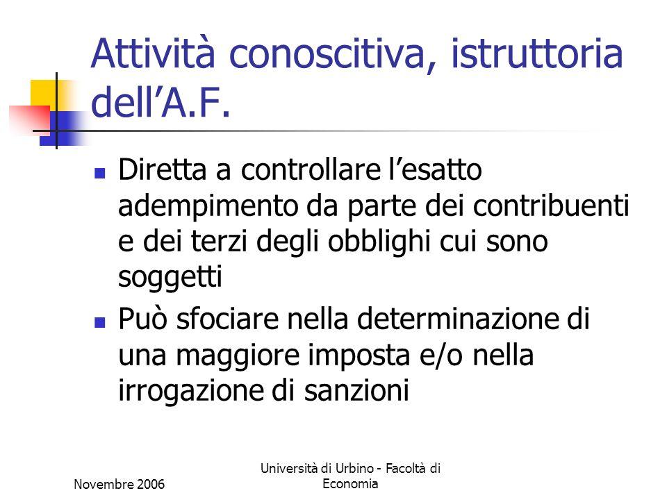Novembre 2006 Università di Urbino - Facoltà di Economia Attività conoscitiva, istruttoria dellA.F.
