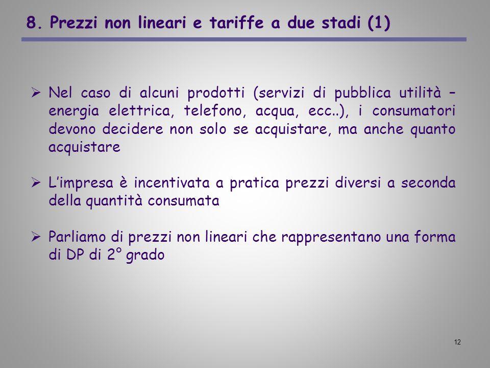 12 8. Prezzi non lineari e tariffe a due stadi (1) Nel caso di alcuni prodotti (servizi di pubblica utilità – energia elettrica, telefono, acqua, ecc.