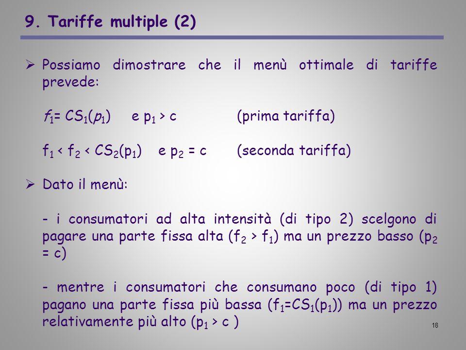 18 9. Tariffe multiple (2) Possiamo dimostrare che il menù ottimale di tariffe prevede: f 1 = CS 1 (p 1 ) e p 1 > c (prima tariffa) f 1 < f 2 < CS 2 (