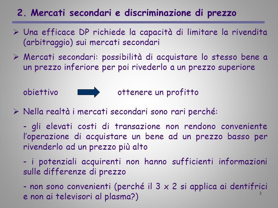 3 2. Mercati secondari e discriminazione di prezzo Una efficace DP richiede la capacità di limitare la rivendita (arbitraggio) sui mercati secondari M