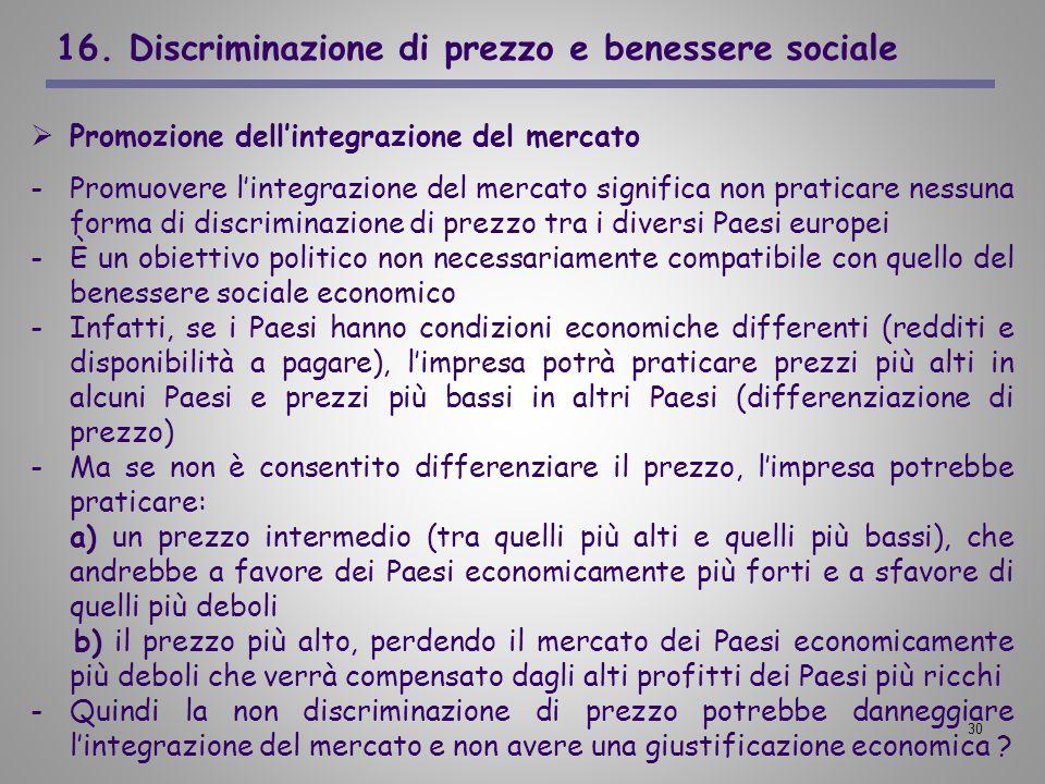 30 16. Discriminazione di prezzo e benessere sociale Promozione dellintegrazione del mercato -Promuovere lintegrazione del mercato significa non prati