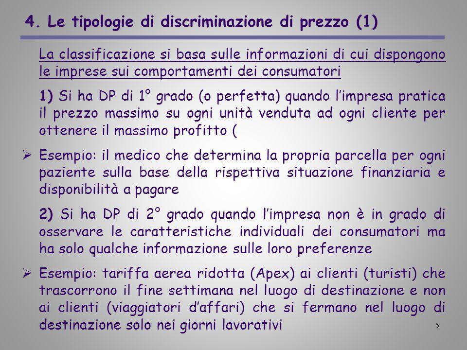 5 4. Le tipologie di discriminazione di prezzo (1) La classificazione si basa sulle informazioni di cui dispongono le imprese sui comportamenti dei co