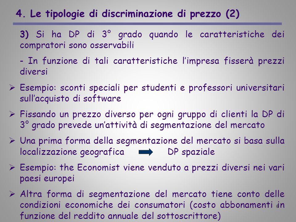 6 4. Le tipologie di discriminazione di prezzo (2) 3) Si ha DP di 3° grado quando le caratteristiche dei compratori sono osservabili - In funzione di