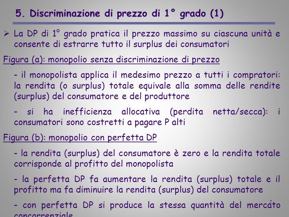 7 5. Discriminazione di prezzo di 1° grado (1) La DP di 1° grado pratica il prezzo massimo su ciascuna unità e consente di estrarre tutto il surplus d