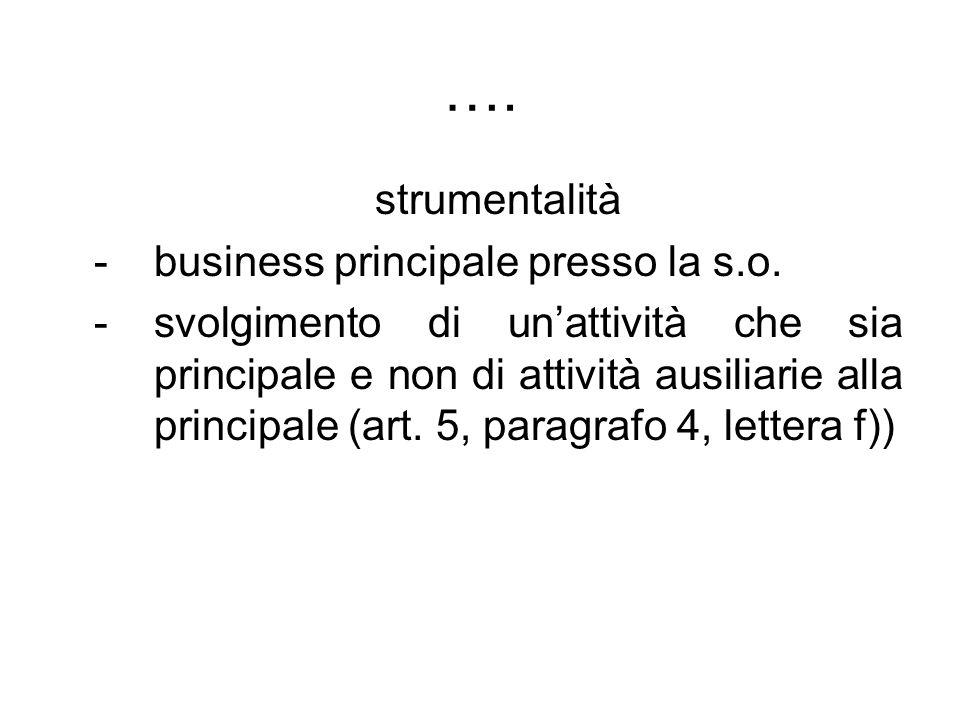 …. strumentalità -business principale presso la s.o. -svolgimento di unattività che sia principale e non di attività ausiliarie alla principale (art.
