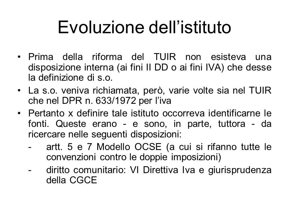 Evoluzione dellistituto Prima della riforma del TUIR non esisteva una disposizione interna (ai fini II DD o ai fini IVA) che desse la definizione di s.o.