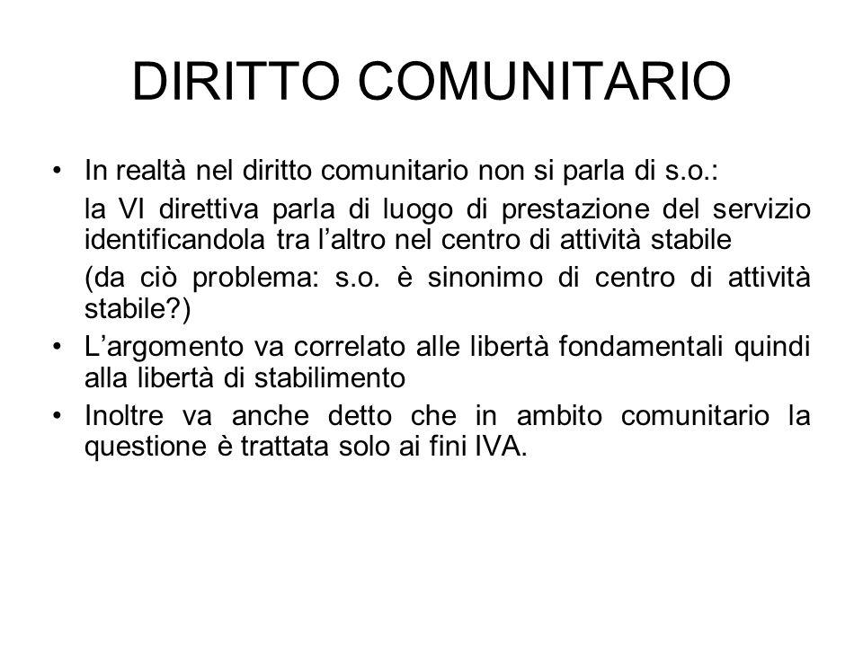 DIRITTO COMUNITARIO In realtà nel diritto comunitario non si parla di s.o.: la VI direttiva parla di luogo di prestazione del servizio identificandola