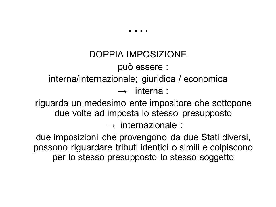 …. DOPPIA IMPOSIZIONE può essere : interna/internazionale; giuridica / economica interna : riguarda un medesimo ente impositore che sottopone due volt