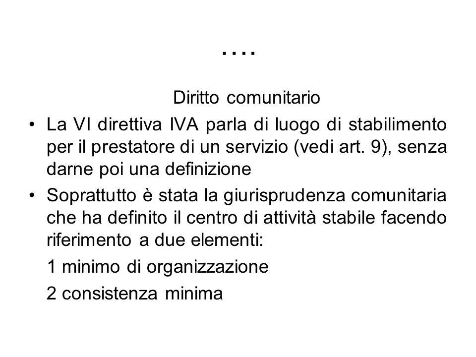 …. Diritto comunitario La VI direttiva IVA parla di luogo di stabilimento per il prestatore di un servizio (vedi art. 9), senza darne poi una definizi