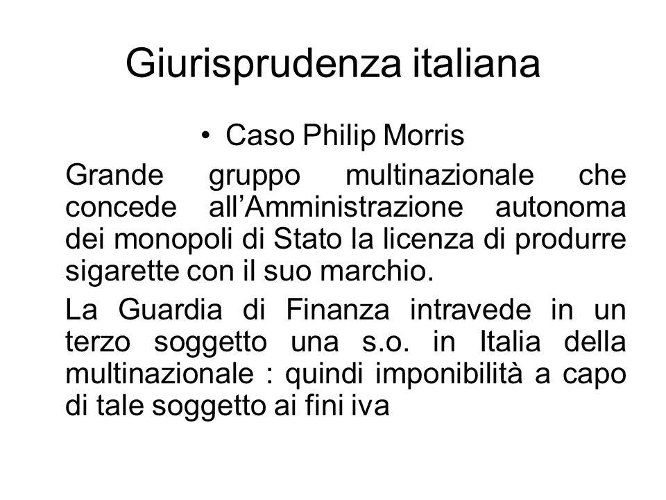 Giurisprudenza italiana Caso Philip Morris Grande gruppo multinazionale che concede allAmministrazione autonoma dei monopoli di Stato la licenza di pr