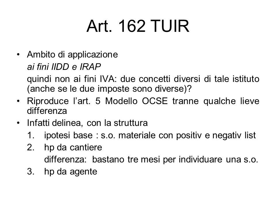 Art. 162 TUIR Ambito di applicazione ai fini IIDD e IRAP quindi non ai fini IVA: due concetti diversi di tale istituto (anche se le due imposte sono d