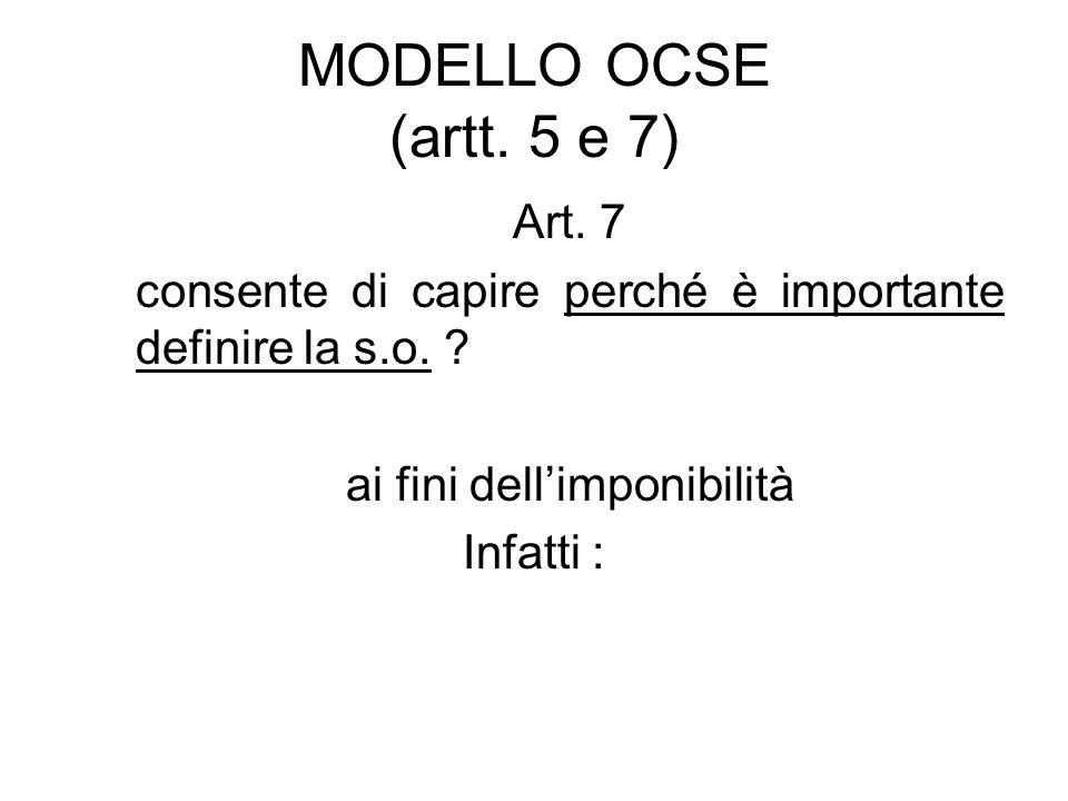 MODELLO OCSE (artt. 5 e 7) Art. 7 consente di capire perché è importante definire la s.o. ? ai fini dellimponibilità Infatti :