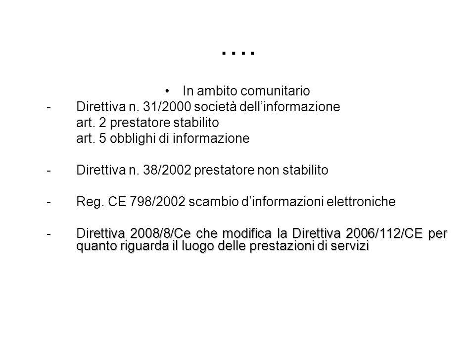 …. In ambito comunitario -Direttiva n. 31/2000 società dellinformazione art. 2 prestatore stabilito art. 5 obblighi di informazione - Direttiva n. 38/