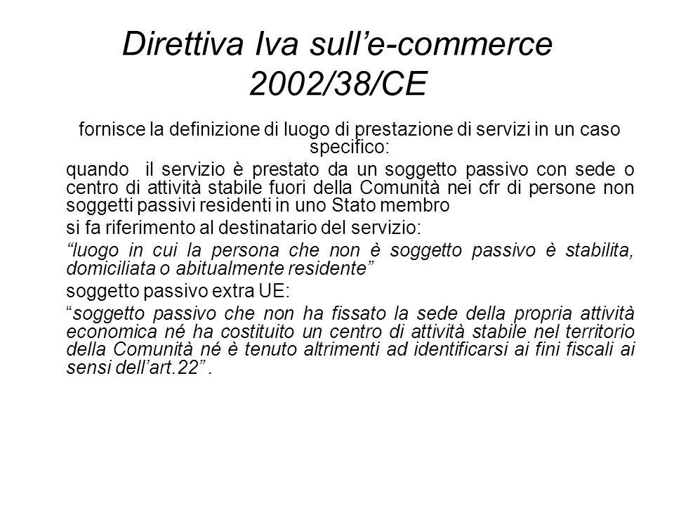 Direttiva Iva sulle-commerce 2002/38/CE fornisce la definizione di luogo di prestazione di servizi in un caso specifico: quando il servizio è prestato