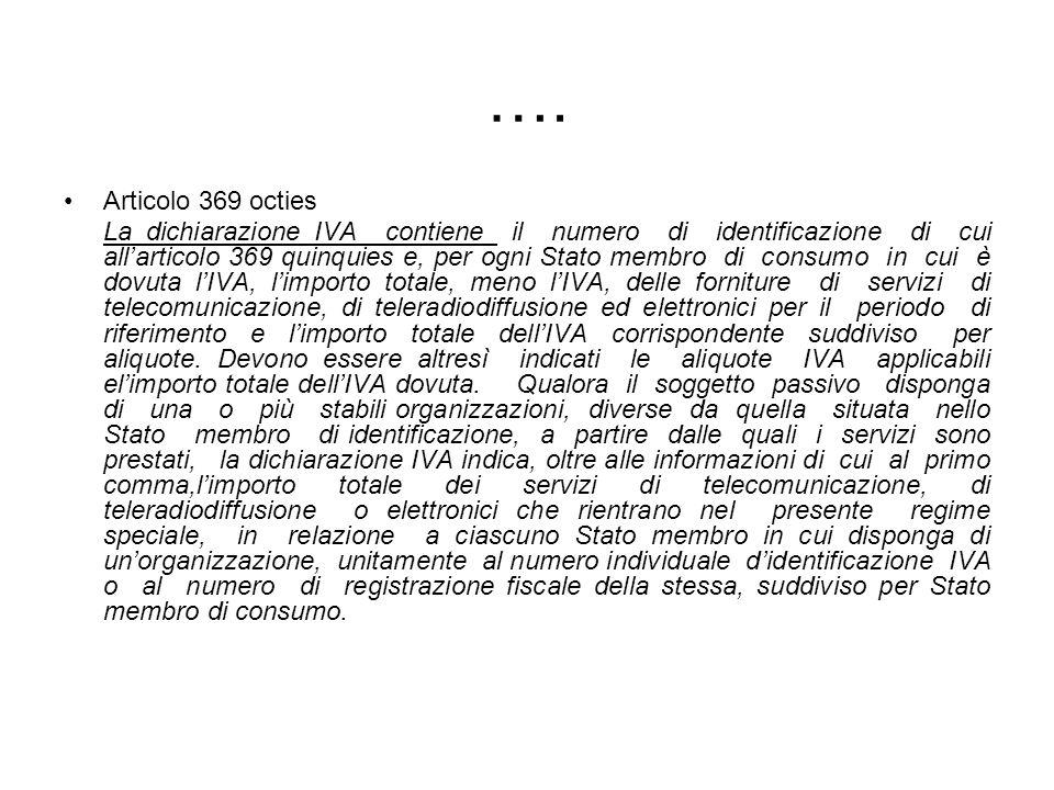 …. Articolo 369 octies La dichiarazione IVA contiene il numero di identificazione di cui allarticolo 369 quinquies e, per ogni Stato membro di consumo
