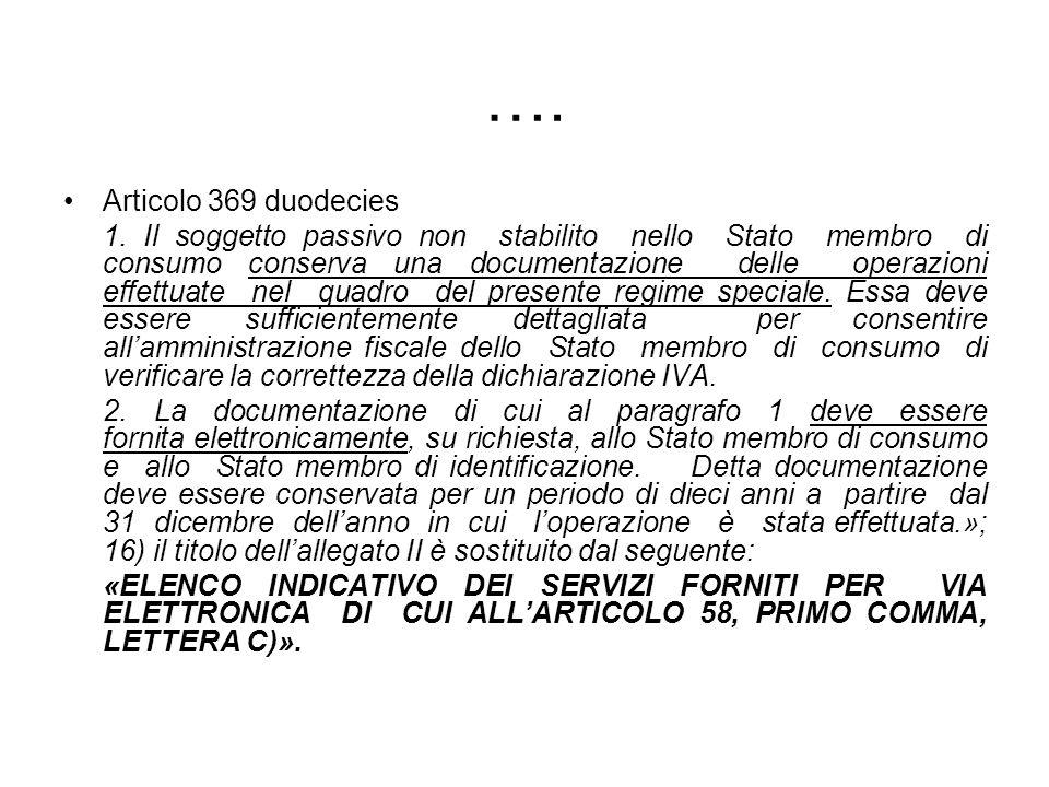 …. Articolo 369 duodecies 1. Il soggetto passivo non stabilito nello Stato membro di consumo conserva una documentazione delle operazioni effettuate n