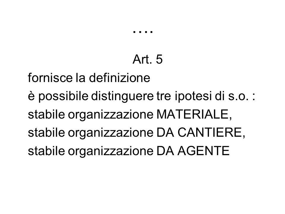 …. Art. 5 fornisce la definizione è possibile distinguere tre ipotesi di s.o. : stabile organizzazione MATERIALE, stabile organizzazione DA CANTIERE,