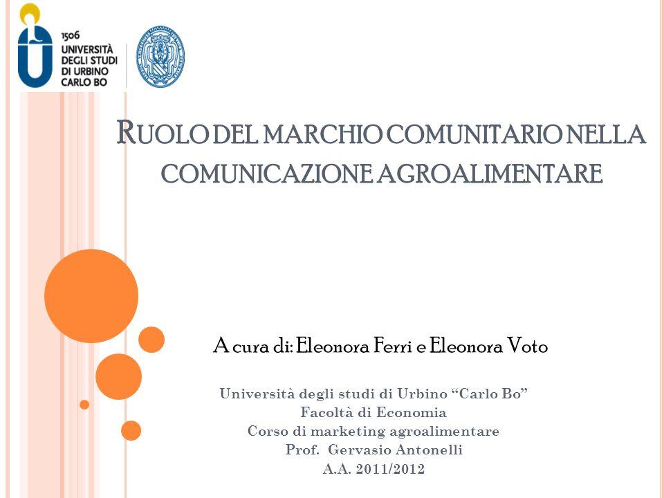 R UOLO DEL MARCHIO COMUNITARIO NELLA COMUNICAZIONE AGROALIMENTARE Università degli studi di Urbino Carlo Bo Facoltà di Economia Corso di marketing agr