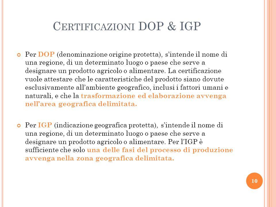 C ERTIFICAZIONI DOP & IGP Per DOP (denominazione origine protetta), sintende il nome di una regione, di un determinato luogo o paese che serve a desig
