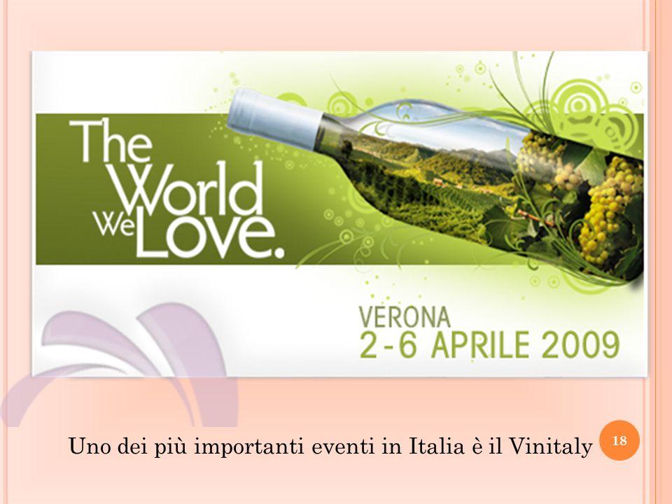 Uno dei più importanti eventi in Italia è il Vinitaly 18