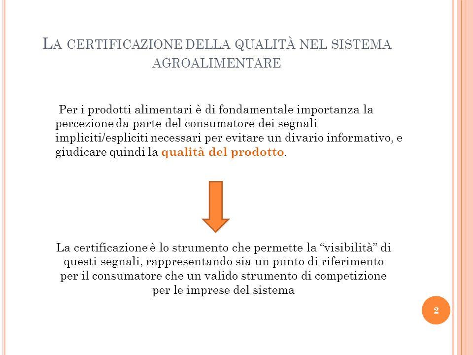 L A CERTIFICAZIONE DELLA QUALITÀ NEL SISTEMA AGROALIMENTARE La certificazione è lo strumento che permette la visibilità di questi segnali, rappresenta
