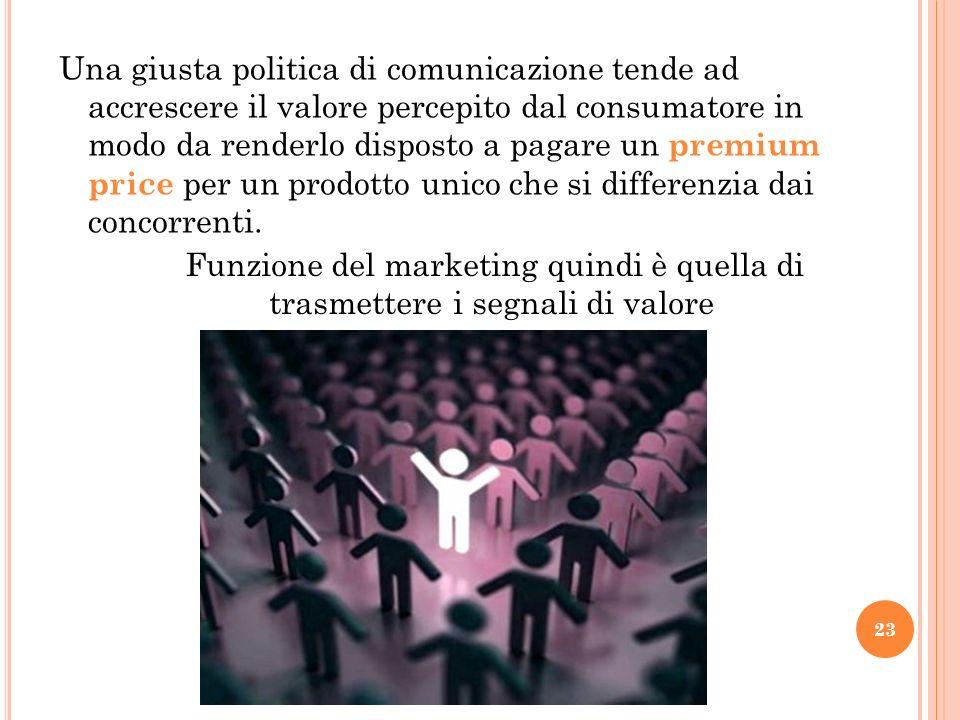 Una giusta politica di comunicazione tende ad accrescere il valore percepito dal consumatore in modo da renderlo disposto a pagare un premium price pe
