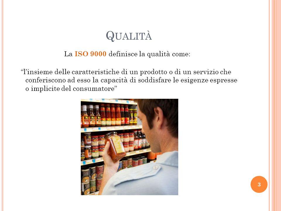 Q UALITÀ linsieme delle caratteristiche di un prodotto o di un servizio che conferiscono ad esso la capacità di soddisfare le esigenze espresse o impl