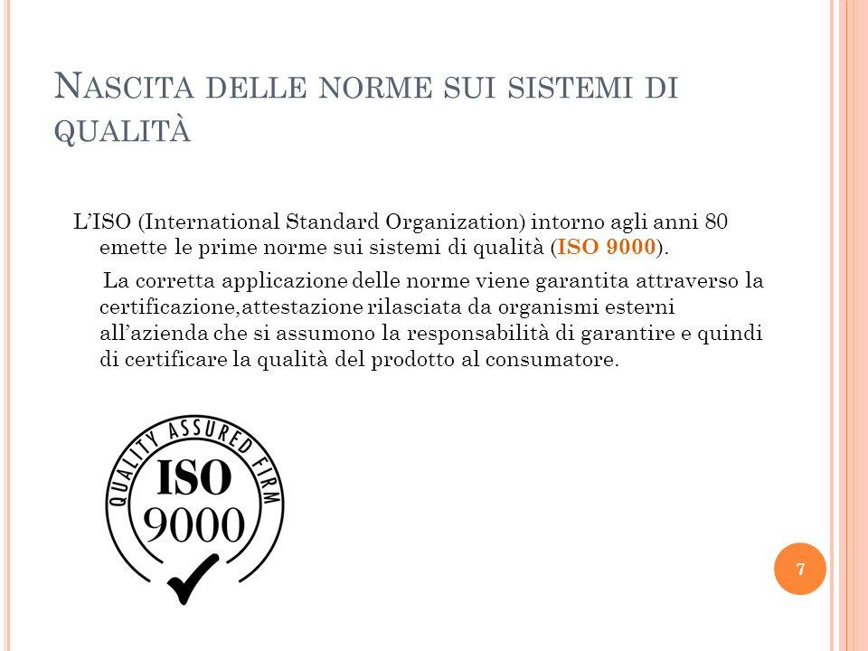 N ASCITA DELLE NORME SUI SISTEMI DI QUALITÀ LISO (International Standard Organization) intorno agli anni 80 emette le prime norme sui sistemi di quali