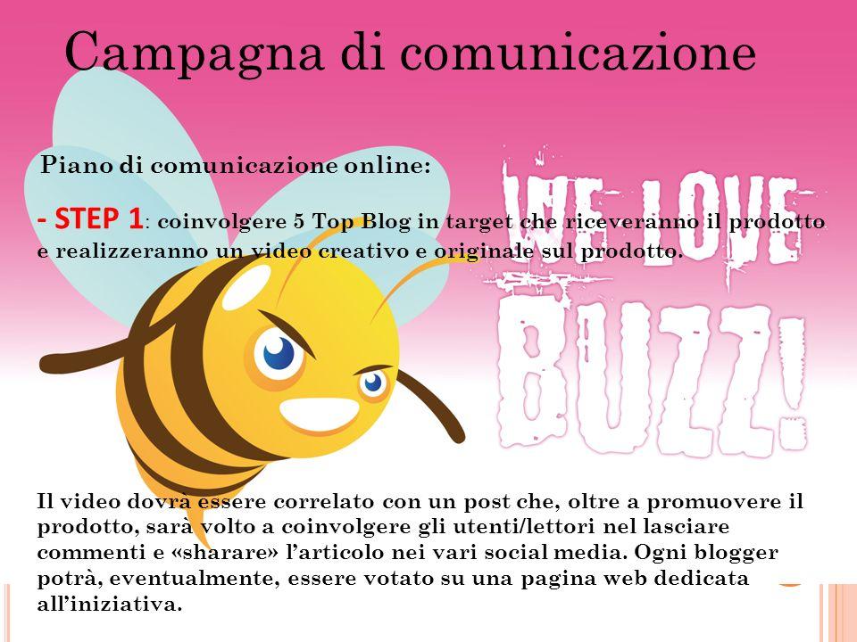 Campagna di comunicazione Piano di comunicazione online: - STEP 1 : coinvolgere 5 Top Blog in target che riceveranno il prodotto e realizzeranno un vi