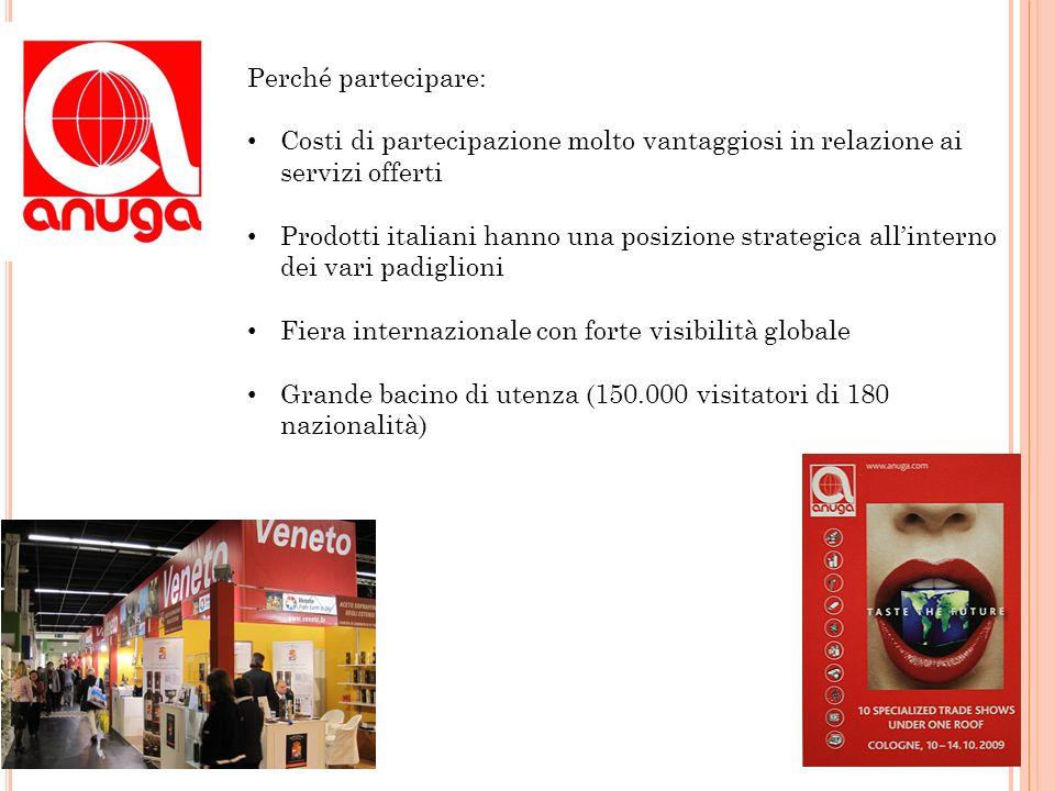 Perché partecipare: Costi di partecipazione molto vantaggiosi in relazione ai servizi offerti Prodotti italiani hanno una posizione strategica allinte