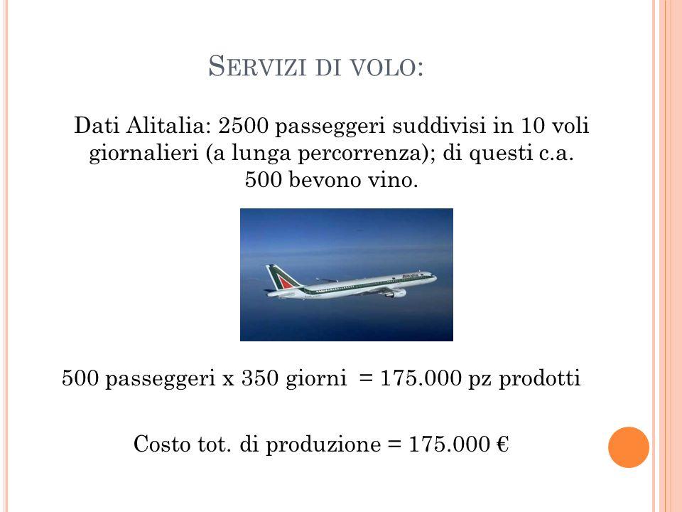 S ERVIZI DI VOLO : Dati Alitalia: 2500 passeggeri suddivisi in 10 voli giornalieri (a lunga percorrenza); di questi c.a. 500 bevono vino. 500 passegge