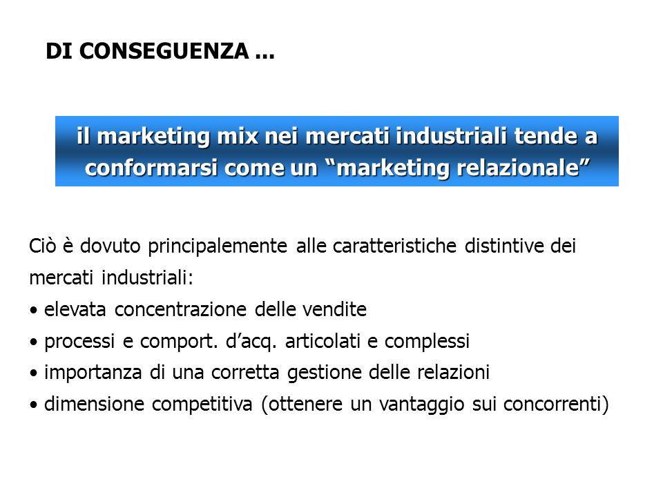 DI CONSEGUENZA... il marketing mix nei mercati industriali tende a conformarsi come un marketing relazionale Ciò è dovuto principalemente alle caratte