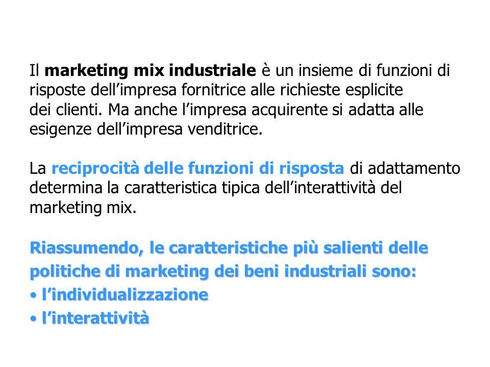 Il marketing mix industriale è un insieme di funzioni di risposte dellimpresa fornitrice alle richieste esplicite dei clienti. Ma anche limpresa acqui