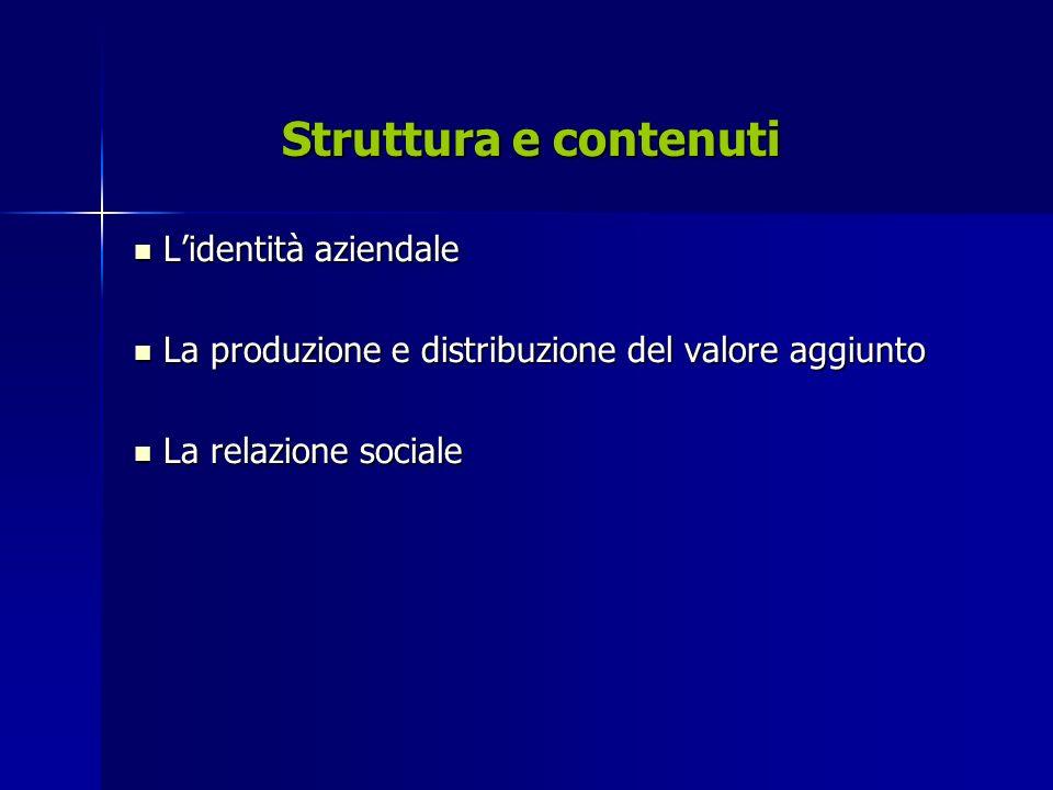 Struttura e contenuti Lidentità aziendale Lidentità aziendale La produzione e distribuzione del valore aggiunto La produzione e distribuzione del valore aggiunto La relazione sociale La relazione sociale