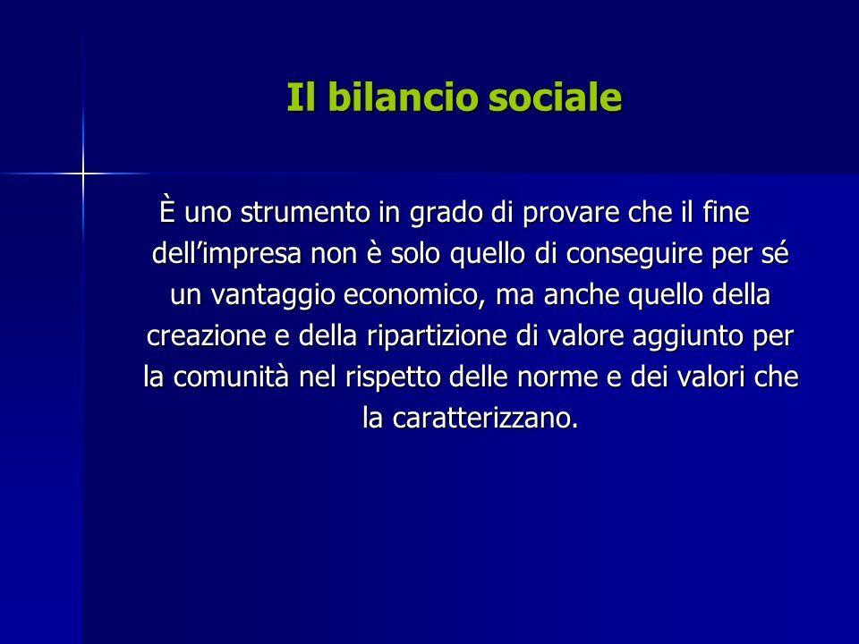 Il bilancio sociale È un investimento che crea valore per limpresa, uno strumento che testimonia la responsabilità e laffidabilità di un soggetto economico in sintonia con il contesto sociale.