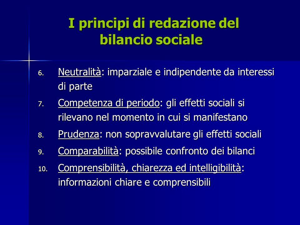 I principi di redazione del bilancio sociale I principi di redazione del bilancio sociale 6.