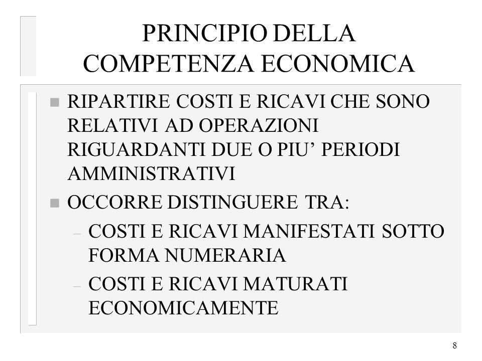 8 PRINCIPIO DELLA COMPETENZA ECONOMICA n RIPARTIRE COSTI E RICAVI CHE SONO RELATIVI AD OPERAZIONI RIGUARDANTI DUE O PIU PERIODI AMMINISTRATIVI n OCCOR
