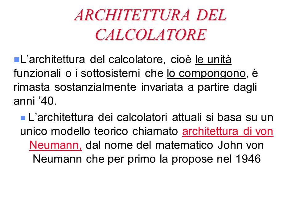 ARCHITETTURA DEL CALCOLATORE n n Larchitettura del calcolatore, cioè le unità funzionali o i sottosistemi che lo compongono, è rimasta sostanzialmente