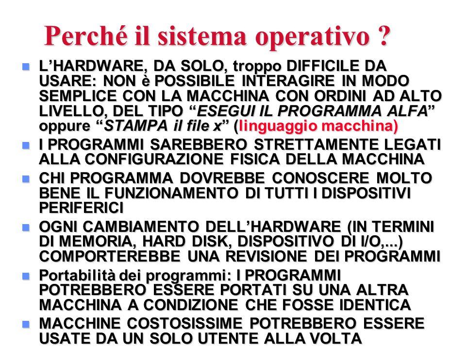Perché il sistema operativo ? n LHARDWARE, DA SOLO, troppo DIFFICILE DA USARE: NON è POSSIBILE INTERAGIRE IN MODO SEMPLICE CON LA MACCHINA CON ORDINI