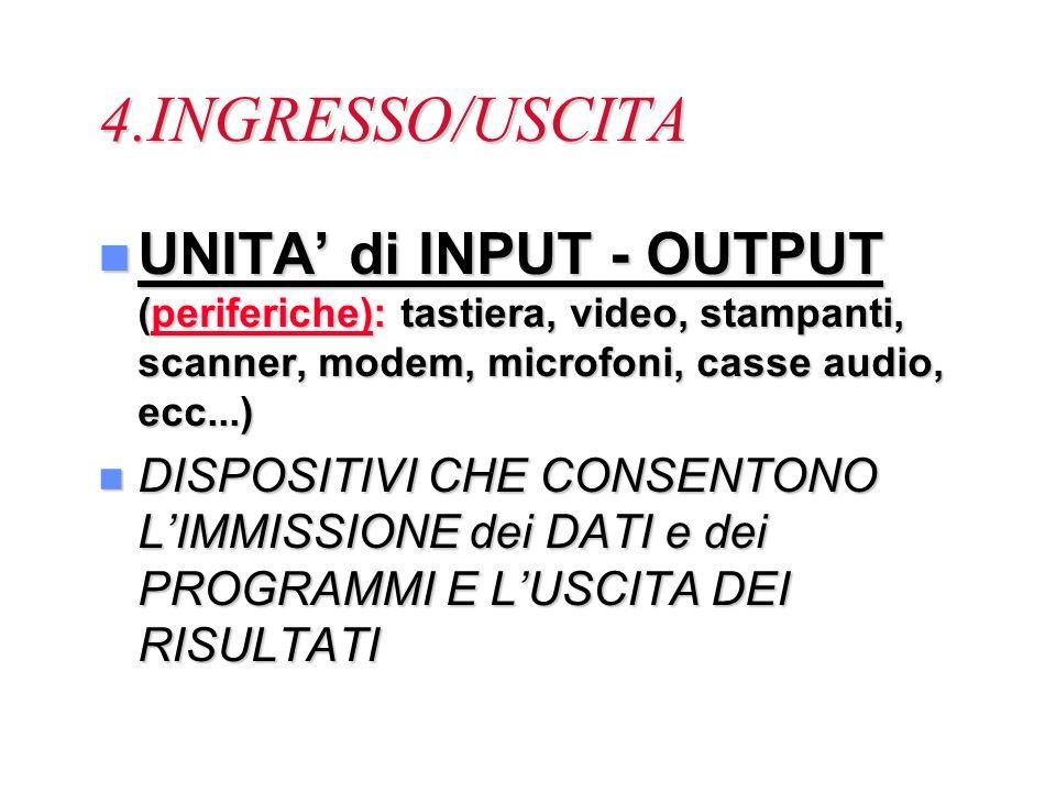 4.INGRESSO/USCITA n UNITA di INPUT - OUTPUT (periferiche): tastiera, video, stampanti, scanner, modem, microfoni, casse audio, ecc...) n DISPOSITIVI C