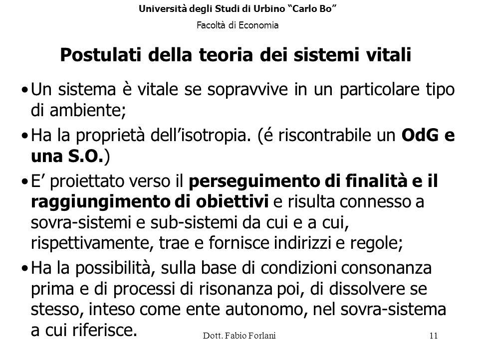 Dott. Fabio Forlani11 Postulati della teoria dei sistemi vitali Un sistema è vitale se sopravvive in un particolare tipo di ambiente; Ha la proprietà