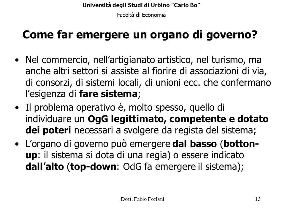 Dott. Fabio Forlani13 Come far emergere un organo di governo? Nel commercio, nellartigianato artistico, nel turismo, ma anche altri settori si assiste