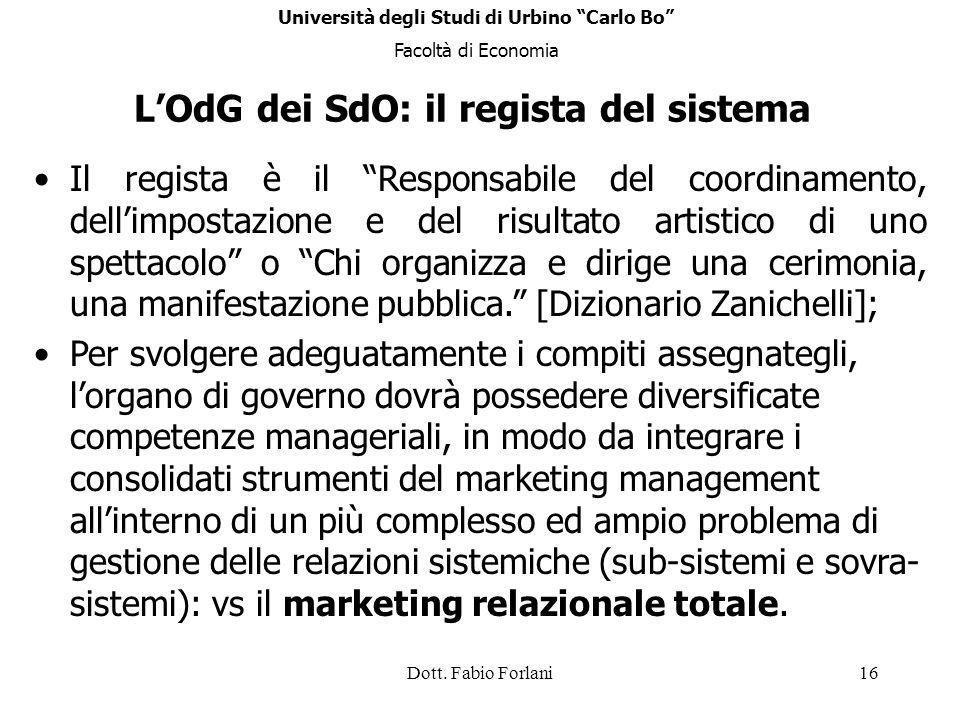 Dott. Fabio Forlani16 LOdG dei SdO: il regista del sistema Il regista è il Responsabile del coordinamento, dellimpostazione e del risultato artistico