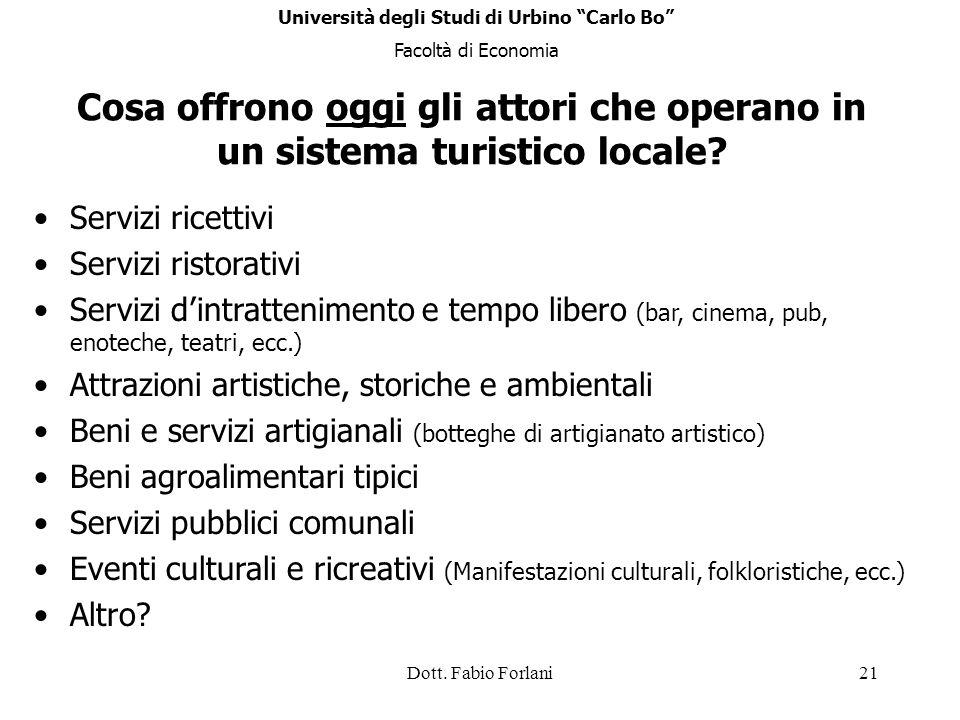 Dott. Fabio Forlani21 Cosa offrono oggi gli attori che operano in un sistema turistico locale? Servizi ricettivi Servizi ristorativi Servizi dintratte