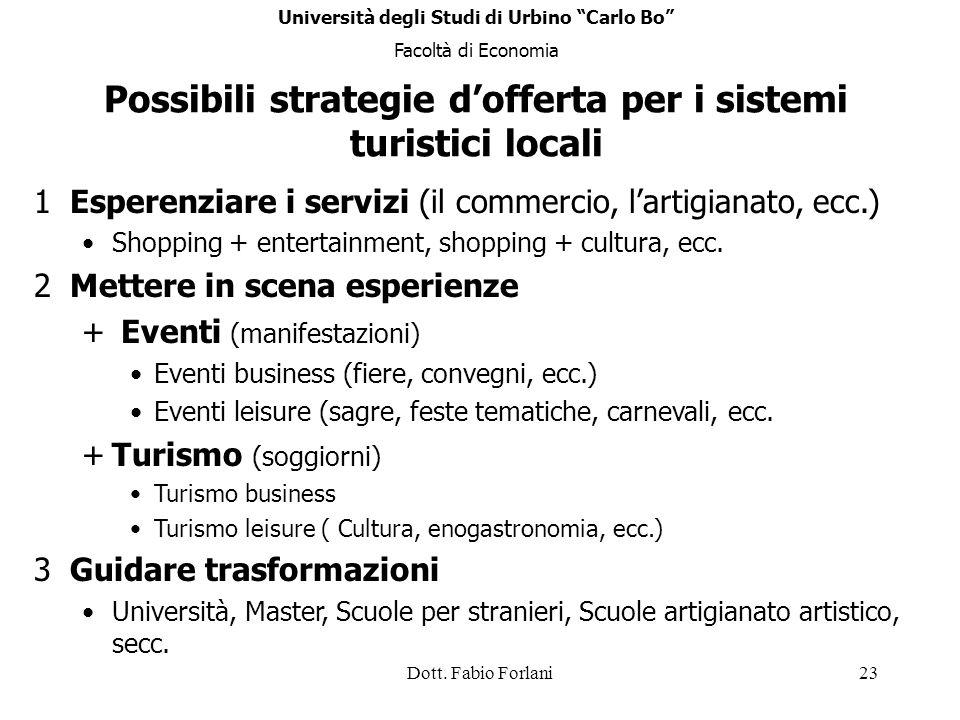 Dott. Fabio Forlani23 Possibili strategie dofferta per i sistemi turistici locali 1Esperenziare i servizi (il commercio, lartigianato, ecc.) Shopping